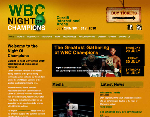 WBC Night Of Champions website