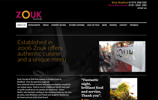 Content Management for Zouk restaurant...