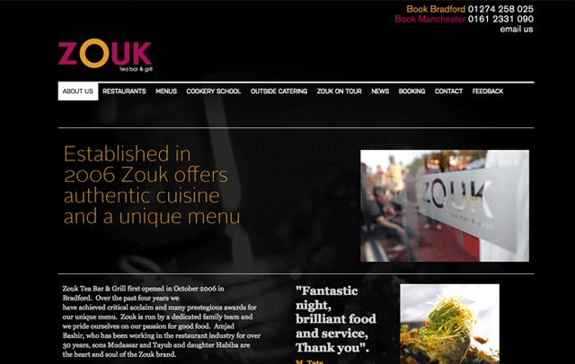 Content Management for Zouk restaurant...