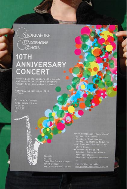 Yorkshire Saxophone Choir Concert Poster 9thwave Design